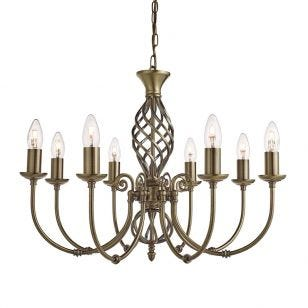 Searchlight Zanzibar 8 Light Chandelier - Antique Brass