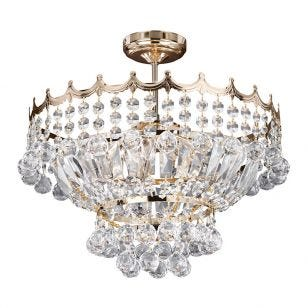 Searchlight Versailles Crystal Semi-Flush Ceiling Light - Gold