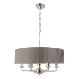 Endon Highclere Pleated 6 Light Ceiling Pendant Light - Charcoal