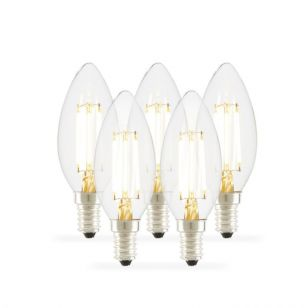 Tagra 4W Warm White Dimmable LED Decorative Filament Candle Bulb - Small Screw Cap - Pack of 5