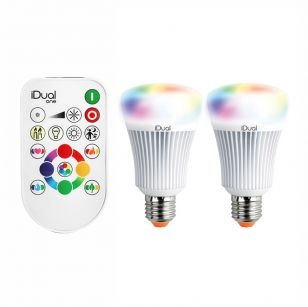 iDual 9.5W Colour Changing Dimmable LED Remote Controlled GLS Bulbs with Remote Control - Screw Cap - Pack of 2