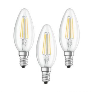 Osram 4W Warm White LED Decorative Filament Candle - Small Screw Cap - Pack of 3