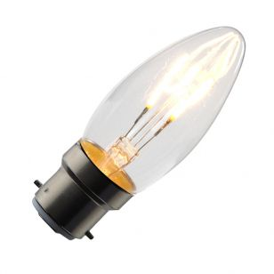 Tagra 3W Warm White Dimmable LED Curved Decorative Filament Candle Bulb - Bayonet Cap