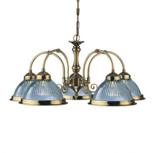 Searchlight American Diner 5 Light Dual Mount Chandelier - Antique Brass