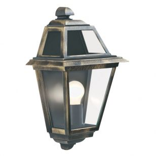 Traditional Half Lantern Outdoor Wall Light - Distressed Gold