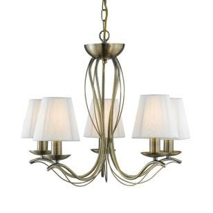 Classic 5 Arm Ceiling Pendant Light - Antique Brass