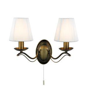 Classic 2 Arm Wall Light - Antique Brass