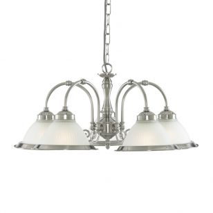 Scroll 5 Arm Dual Mount Ceiling Pendant Light - Satin Silver