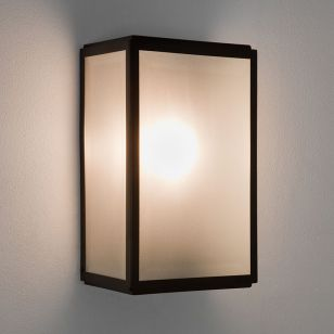 Astro Homefield Outdoor Wall Light with Microwave Sensor - Black with Frosted Glass