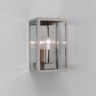 Astro Homefield Outdoor Wall Light - Polished Nickel with Clear Glass