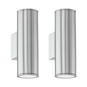 Pack of 2 Eglo Riga LED Outdoor Up & Down Wall Light - Stainless Steel