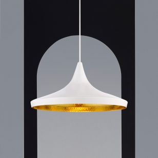 Tom Dixon Beat Wide Ceiling Pendant Light - Gloss White