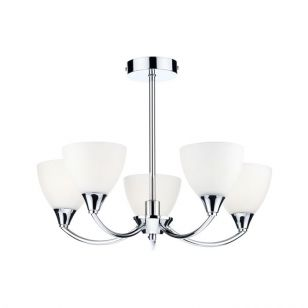 Dar Watson 5 Arm Semi Flush Ceiling Light