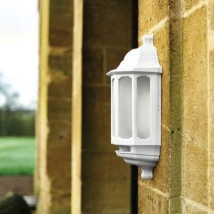 ASD Hi-Lo LED Half Lantern Outdoor Wall Light with Dusk to Dawn and PIR Sensor - White