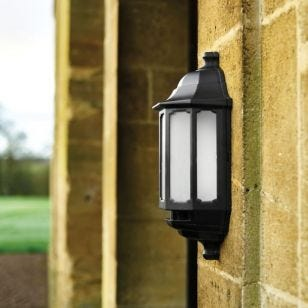 ASD LED Half Lantern Outdoor Wall Light - Black