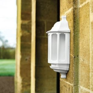 ASD LED Half Lantern Outdoor Wall Light - White