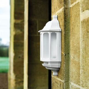 ASD LED Half Lantern Outdoor Wall Light with PIR Sensor - White