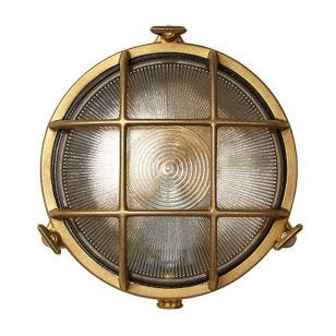 Uber Lamp Rock Round Outdoor Wall Light - Brass