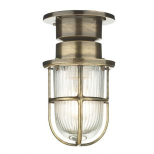 David Hunt Coast Outdoor Semi Flush Ceiling Light - Antique Brass