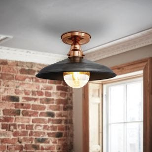 Industville Barn Vintage Semi-Flush Ceiling Light - Copper & Dark Pewter