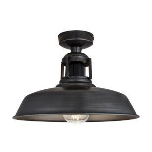 Industville Barn Vintage Slotted Semi-Flush Ceiling Light - Dark Pewter