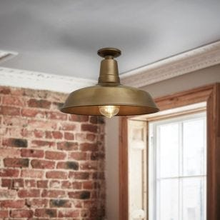 Industville Farmhouse Vintage Semi-Flush Ceiling Light - Antique Brass