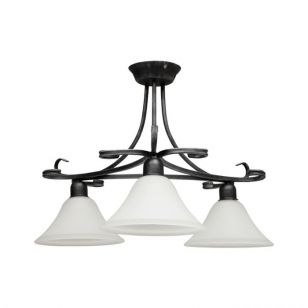 Edit Flores 3 Arm Semi-Flush Ceiling Light - Black