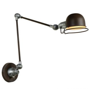 Lucide Honore Long Arm Adjustable Wall Light - Rust Brown