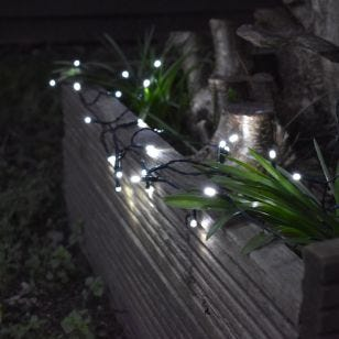 Solar Cool White LED String Lights - 50 Lights