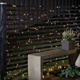Konstsmide Battery Operated Warm White LED Net Light with Dusk to Dawn Sensor - 128 Lights