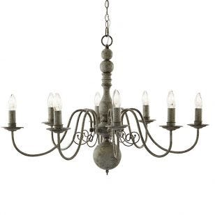 Searchlight Greythorne 8 Light Chandelier - Grey