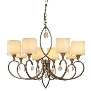 Antique 8 Light Chandelier - Antique Brass