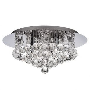 Droplet Crystal LED Flush Ceiling Light - Polished Chrome