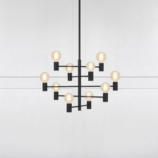 Paris 10 Arm Ceiling Pendant Light - Black