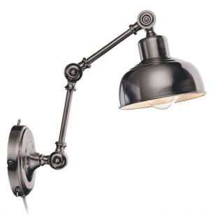Grimstad Adjustable Wall Light with Plug - Antique Silver