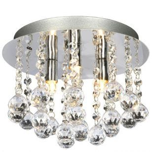 Aries Crystal Flush Ceiling Light - Chrome