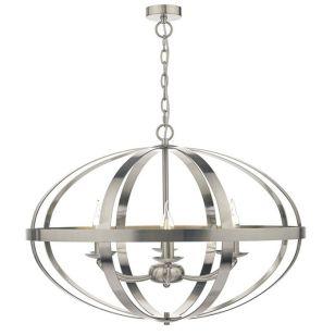 Dar Symbol 6 Light Ceiling Pendant Light - Satin Chrome