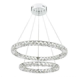 Dar Roma LED Crystal Ceiling Pendant Light - Chrome