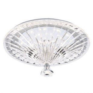 Dar Vincent Crystal LED Flush Ceiling Light - Clear