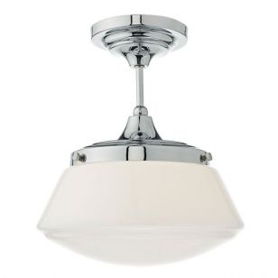 Dar Caden Glass Semi-Flush Ceiling Light - Polished Chrome