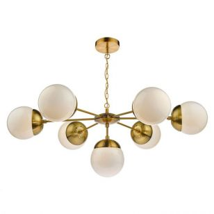 Dar Bombazine 7 Arm Ceiling Pendant Light - Natural Brass