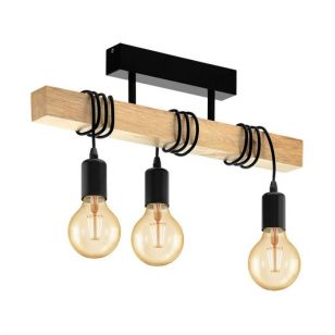Eglo Townshend 3 Light Semi-Flush Ceiling Light - Black