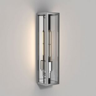 Astro Harvard Half Lantern Outdoor Wall Light - Polished Stainless Steel