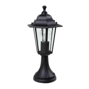 Lutec Corniche Outdoor Pedestal Light - Black