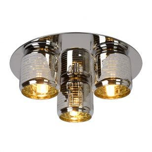 Lucide Eryn 3 Light Flush Ceiling Light - Chrome