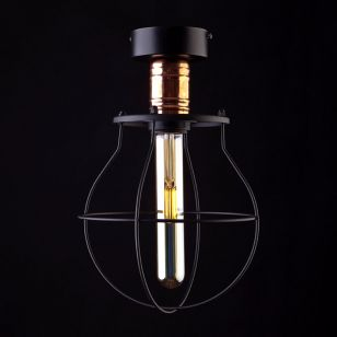 Edit Manufacture Semi-Flush Ceiling Light - Black and Copper