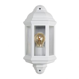 Half Lantern Outdoor Wall Light - White