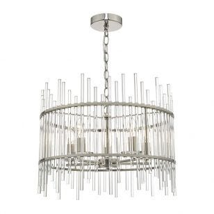 Dar Olyn 5 Light Glass Ceiling Pendant - Polished Nickel