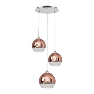 Edit Globe 3 Light Glass Cascade Ceiling Pendant - Copper