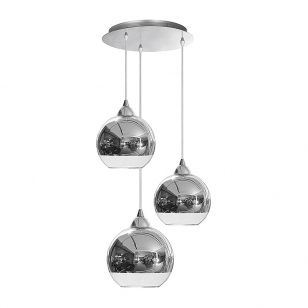 Edit Globe 3 Light Glass Cascade Ceiling Pendant - Chrome